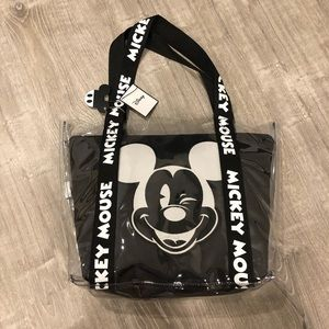 NWT Clear Mickey Tote w. Black zipper Pouch